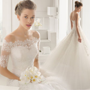 Luxury off Shoulder Sequin Appliqued Pleated Floor Length Wedding Dress with Detachable Sleeves pictures & photos