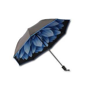 OEM Manual Open Folding Double Pattern Sunshade Umbrella with Logo pictures & photos