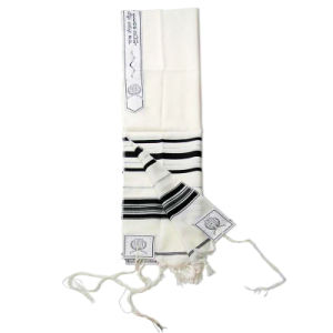 High Quality China Wool Tallit with Black Stripes pictures & photos