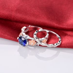 Floral Design Blue Diamond Ring Set -34 pictures & photos