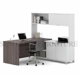 Modern Corner L Shape Computer Desk PVC Office Desk (SZ-ODT674) pictures & photos