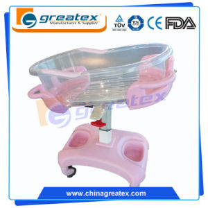 Plastic Hospital Baby Crib, Gas Spring Cart (GT-2310A)