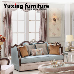 Neoclassical Wooden Velvet Fabric Sofa with Table Set for Living Room