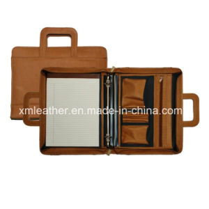 Leather Business Document Bag Metal Clip File Folder with Handle pictures & photos