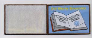 Retangle Shape Book Design Overlocking Woven Patch pictures & photos