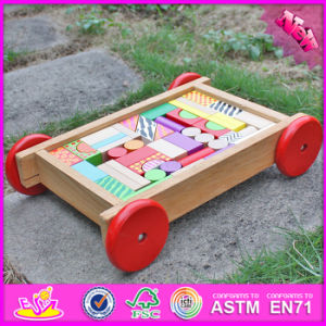 2016 Wholesale Fashion Wooden Blocks for Toddlers, Pull Car Designed Wooden Wooden Blocks for Toddlers W13c032 pictures & photos