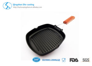 Black Ceramic Square Non-Stick Korea BBQ Aluminium Grill Pan pictures & photos