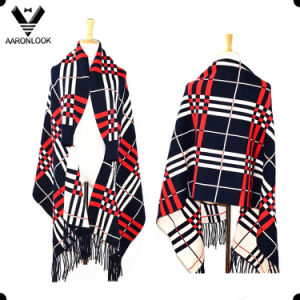2016 Popular High Quality Winter Plaid Shawl with Sleeves pictures & photos