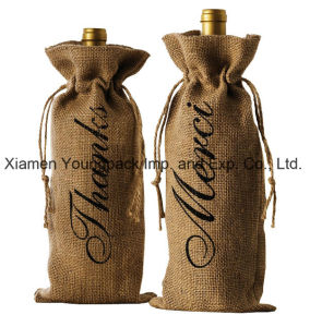 Wholesale Bulk Promotional Custom Printed Jute Single Bottle Wine Tote Bags pictures & photos