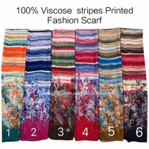 2017 Fashion Ladies Viscose Stripes Flower Printed Designs Scarf Factory pictures & photos