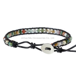 Leather Chain Natural Stone Beads Bracelet Rainbow Agate Chakra Bracelets pictures & photos
