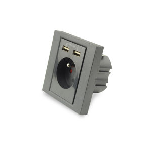 AC Wall Socket with 2 Port USB Charger, French Socket pictures & photos