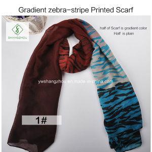 2017 New Gradient Zebra-Stripe Printed Viscose Shawl Fashion Lady Scarf pictures & photos