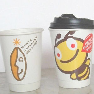 12 Oz Disposable Cartoon Paper Cup Double Wall with Cap pictures & photos