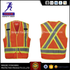 Hi-Vis 100% Polyester Mesh Reflective Safety Vest with Pockets From Factory pictures & photos