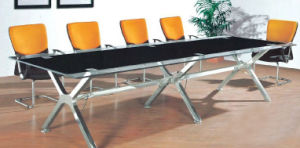 Rectangle Metal Leg Tempered Glass Conference Meeting Table /Desk (HX-GL059) pictures & photos