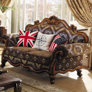 Living Room Furniture with Fabric Sofa and Wood Cabinets pictures & photos