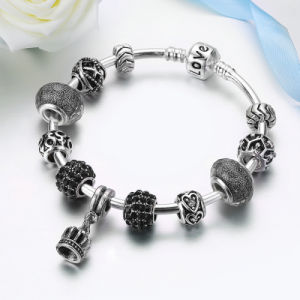 Women DIY Jewelry Vintage Crown Pendant & High Quality Black Murano Beads Bracelets pictures & photos
