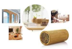 High-End Wireless 3D Around Super Bass Promotional Speakers Bamboo Bluetooth Speaker for Samsung iPhone Tablet PC pictures & photos