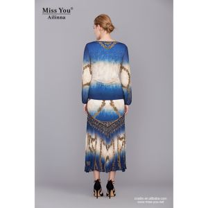 Miss You Ailinna 801964 Pleated Women Beaded Chiffon Maxi Dress pictures & photos