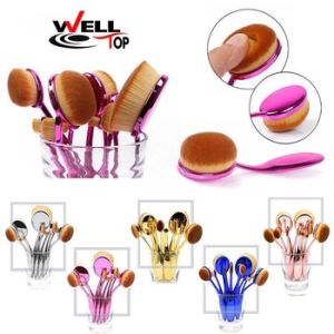Rainbow Color Toothbrush Shape Makeup Tool Kits 10PCS Oval Brush pictures & photos