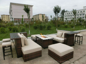 Fire Pit Weave Bar Club Outdoor Furniture with Ceramic Table pictures & photos