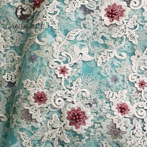 Water Green Color Latest Embroidery French Lace for Party pictures & photos