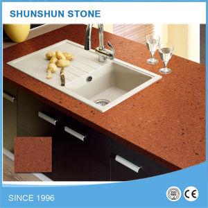 Red Color Kitchen Quartz Countertops pictures & photos
