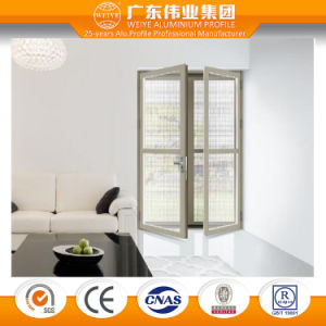 Weiye Aluminium Factory 135 Series Two Tracks Four Panel Glass Aluminium Sliding Door with Mesh pictures & photos