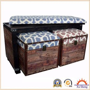 Stacking Round Upholstered Ottoman Foot Stool in Patterned Linen Fabric Antique Furniture pictures & photos
