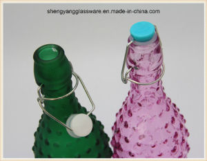 1 L Stained Glass Storage Milk Bottle/Juice Bottle/Glass Bottle with Airtight Lid pictures & photos