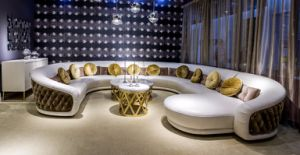 Luxury Italian Style Leather and Fabric Mixed Corner Sofa pictures & photos