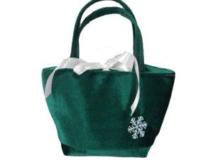 Green Velvet Tote Bag (DS080312)