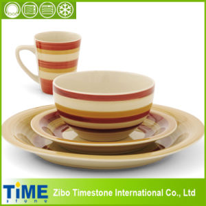 Hot Sale Stoneware Strip Galore Ceramic Dinner Set (150320) pictures & photos