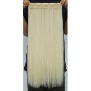 22 Inch White Color One Piece Clip in Synthetic Hair Extensions Wih 5 Clips