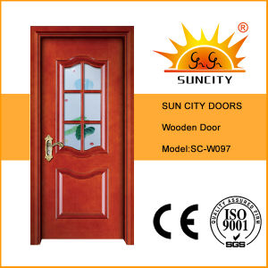 Hot Sales Veneer Painting Glass Wooden Door (SC-W097) pictures & photos