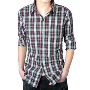 2014 New Fashion Casual Grid Long-Sleeved Men′s Shirt (T004) pictures & photos