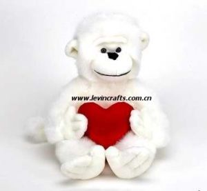 Valentine White Plush Gorilla with Red Heart Toy (LE-VT100804)