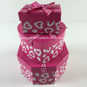 Custom Printing Ribbon Hexagonal Heart-Shaped Rectangle Mixed Paper Gift Boxes Set pictures & photos
