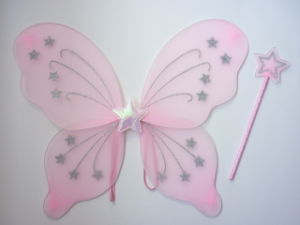 Fairy Princess Butterfly Party Costume Wingswith Star Wand