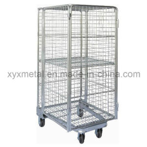 One Extral Wire Shelving 4 Sides Full Security Roll Pallet Mesh Container pictures & photos