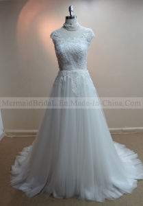 a-Line Cap Sleeves Ivory Applique Lace Wedding Dress