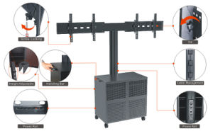 "Video Conference Stand Dual Screen 30-60"" Lockable Cabinet (VRS 2000A) pictures & photos"