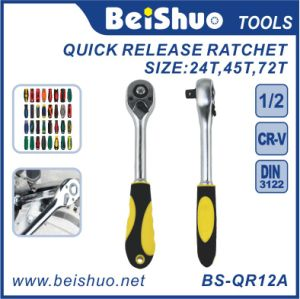 Drive Pear Head Quick Release Ratchet with Rubber Covered Handle pictures & photos