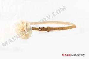 Fashion PU Skinny Belt with Flower (Maco012)