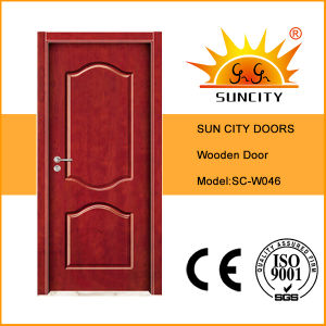 Decorative Flower Modern Solid Wood Door (SC-W012) pictures & photos