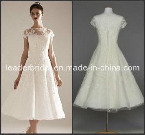 Lace Short Wedding Dress Organza Little White Bridal Gown Ld15264 pictures & photos