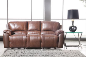 Brown Color Thick Seat Cushion and Back Leather Recliner Sofa pictures & photos