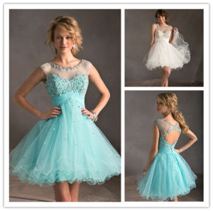 New High Quality Ball Gown Tulle with Sequins Beads Scoop Neck Cap Sleeve and Cross Back Above Knee Length Mini Plus Size White Party Dresses 2014