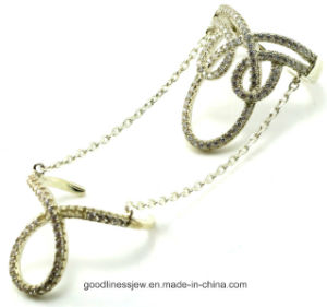 Wholesale China Creative 925 Sterling Silver Ring Two Rings R10044 pictures & photos